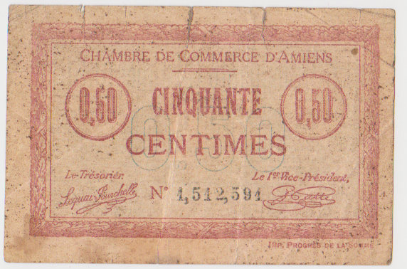 France 1915 50 centimes amiens billets de n cessit for Chambre de commerce amiens