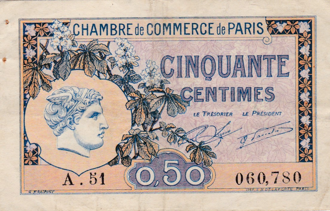 France 1920 50 centimes paris billets de n cessit for Chambre de commerce internationale paris arbitrage