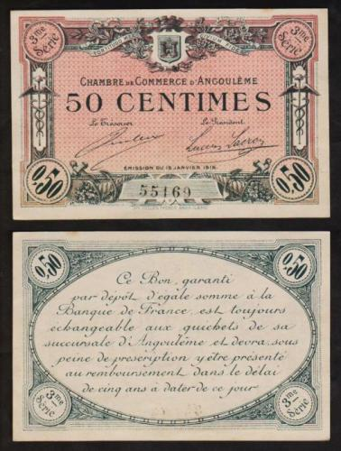 50 centimes 1915 angouleme billet de n cessit chambre for Chambre de commerce france chine